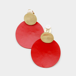 Disc Clip On Earrings