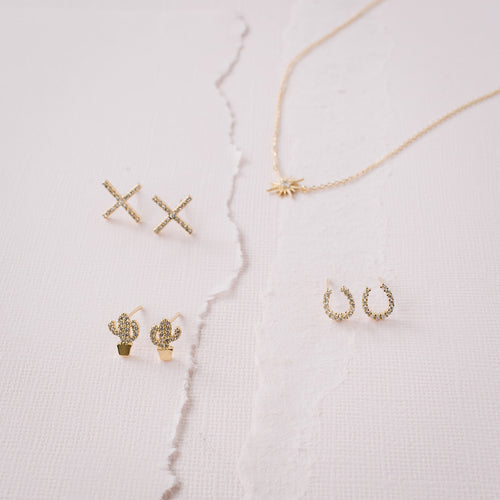 Mini Horseshoe CZ + 14k Gold Dipped Studs