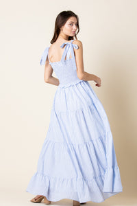 Sky Blue Smocked Maxi Dress