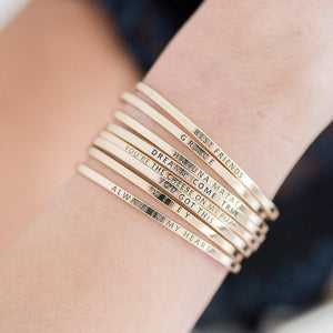 Dainty Gold Message Bangles (Multiple Styles)