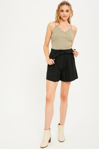 Belted Twill Shorts in Black