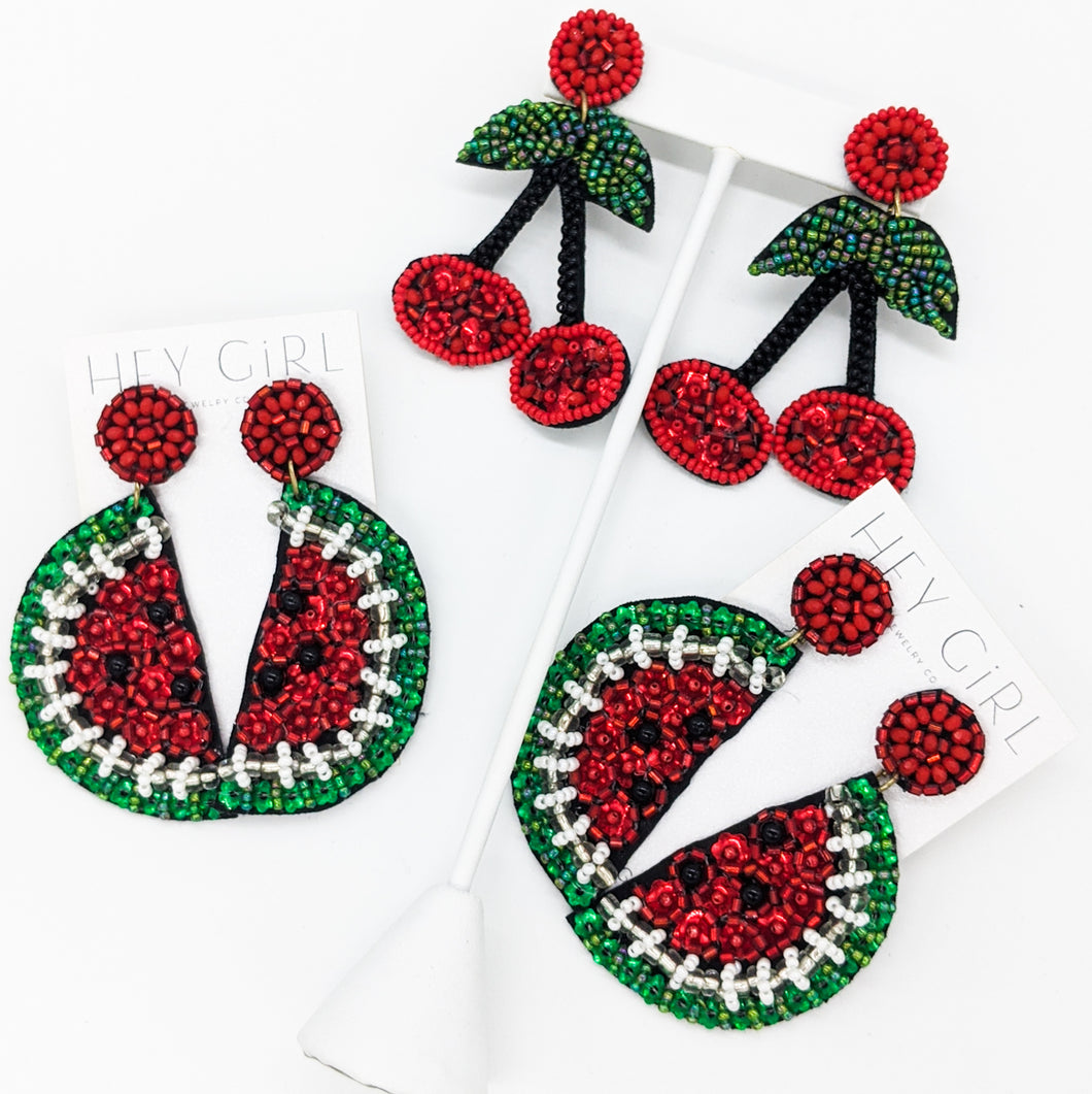 Watermelon + Cherry Earrings