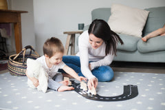 Way to play car track totter and tumble play mat