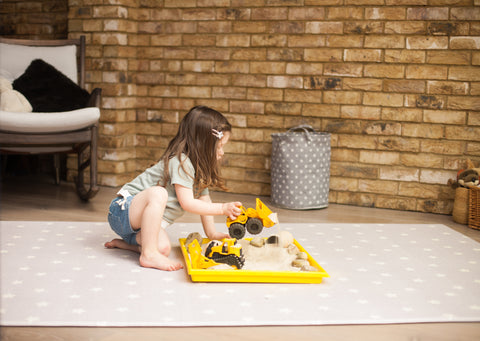 Family Play construction on Totter and Tumbles Luna Explorer playmat