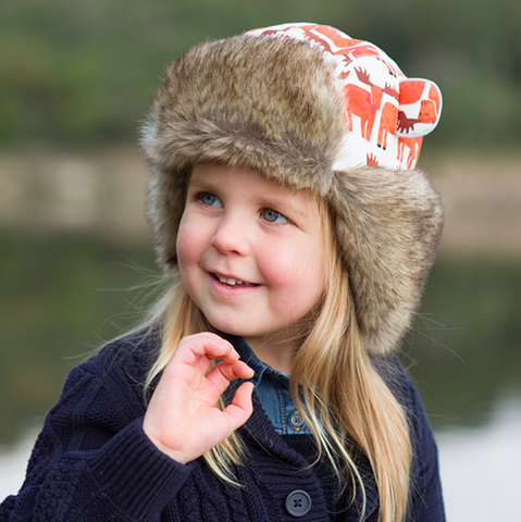 hotdog watson winter hats for children girl wearing trapper hat with foxes on it