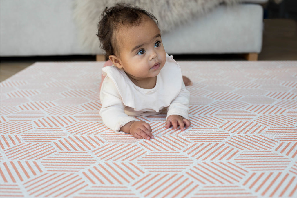 Luxury stylish memory foam playmat with coral striped hexagons