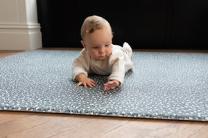 The Champion ditsy leopard print play mat for cool kids and stylish family homes, soft padded playmat reversible design one piece. baby playing tummy time on luxury, safe and soft memory foam mat