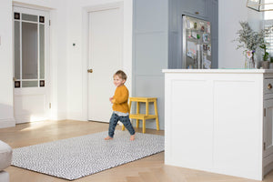 Stylish monochrome spotty dotty playmat subtly fits in with your home style