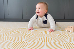 totter and tumble The Keeper luxury memory foam baby play mat in mustard honeycomb pattern, memory foam with baby tummy time reversible rug practical yet stylish for home interiors