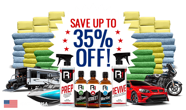 Image of nano ceramic coating products and 35 percent off call to action