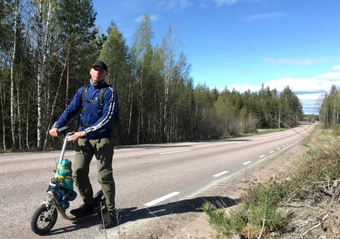 Somewhere in Sweden may 2020 with a Boardy kick scooter