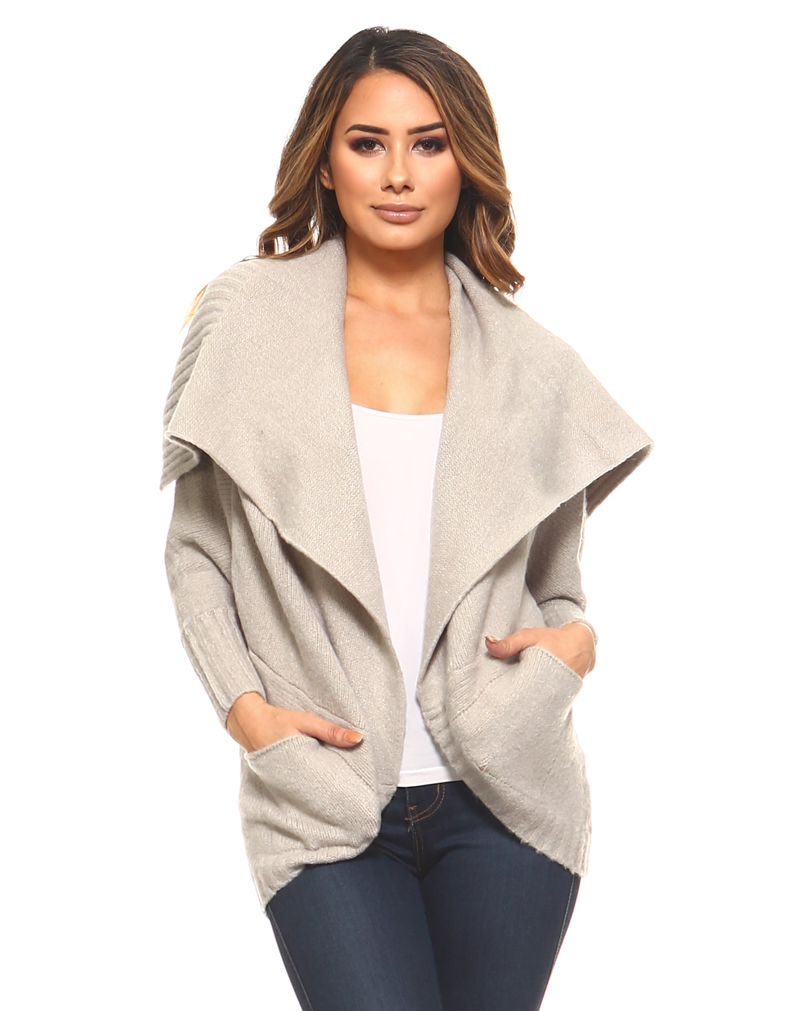 Rounded Warm Pocket Cardigan Sweater - Cream GRAY