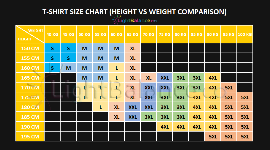 fluorescent-shirts-height-vs-weight-comparison-chart