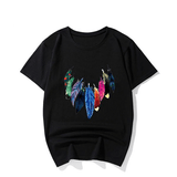 Colorful Feather Printed T-Shirts Male Short-sleeved Casual Cool Tee Tops