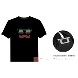Mustache Sound Activated Flashing T-shirt