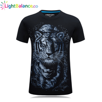 3D Printed Tiger Monochrome Color Casual T-shirt