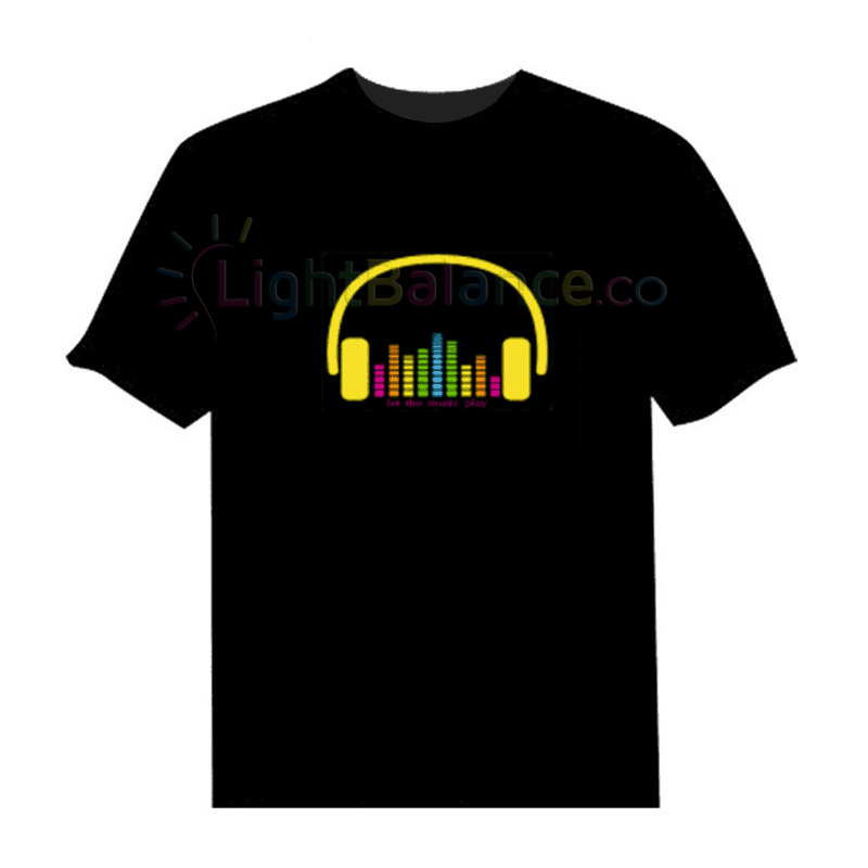 """DJ Headset"" of Equalizer EL Panel - Sound Activated T Shirt"