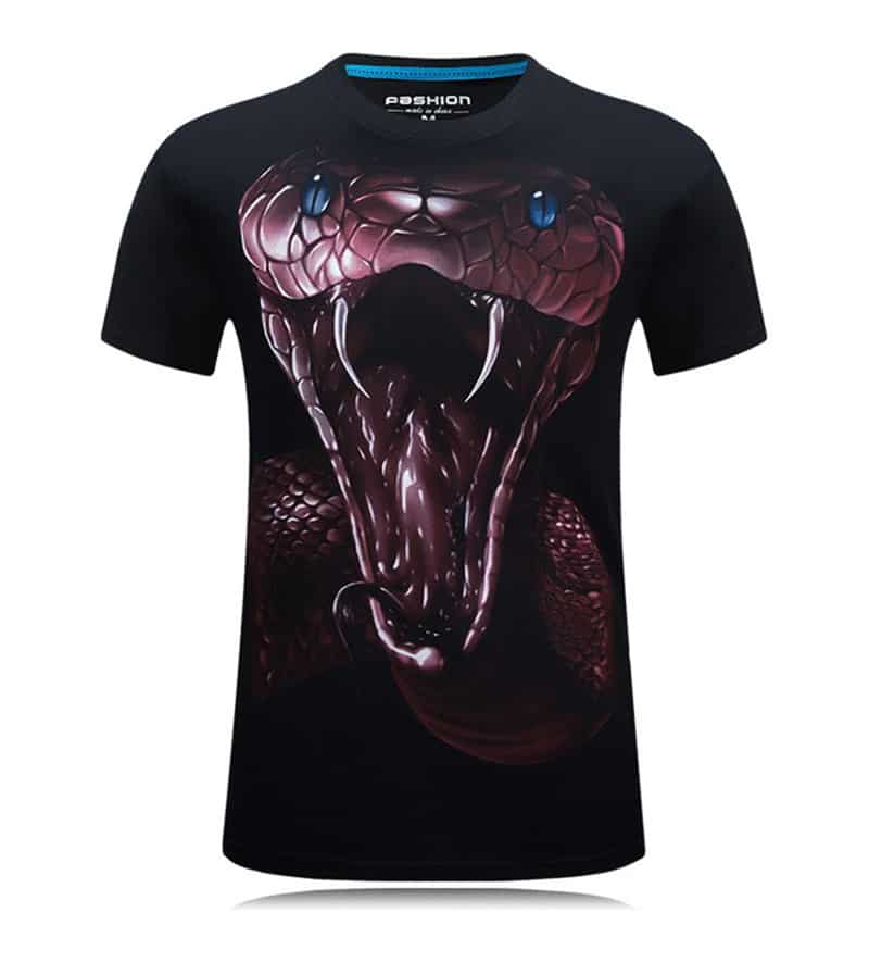 3D Printed King Cobra Head Cotton Casual T-Shirts
