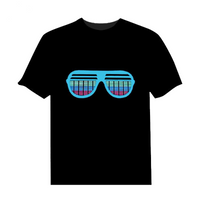Glasses Sound Equalizer Sound Activated LED Flashing T-Shirt