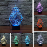 Star war BB 3D USB Led night light 7 color changing Christmas Mood touch kid/children living/bedroom table/desk Lamp lighting - LightBalance.co