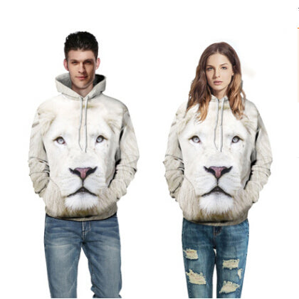 Lifelike 3D Printed White Lion Casual Long-sleeved Hoodies for Lovers