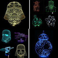 High Quality New Christmas Gifts Star War Star Trek Atmosphere 3D Lamp Boys & Girls Bedroom LED RGB Touch Illusion Night Light - LightBalance.co