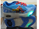 NEW 'Spiderman' Wheelies Sneakers With Flashing LED for Kids