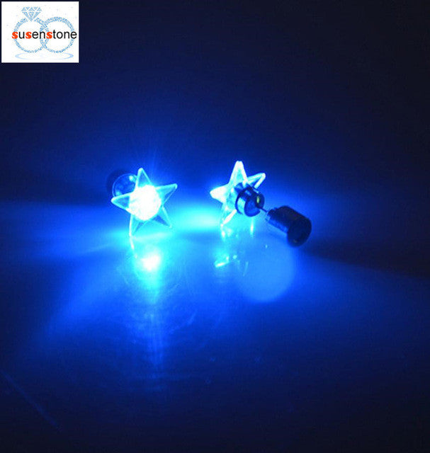 SUSENSTONE LED five-pointed star light earrings Fashion Dance Party Accessories Light Up LED Bling Ear Studs Earring - LightBalance.co