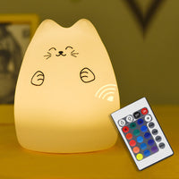 Colorful Cat Silicone LED Night Light Rechargeable Touch Sensor Lamp 2 Modes Children Cute Night Lights Bedroom Lighting - LightBalance.co