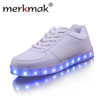 Merkmak Flat Black & White LED Shoes Fashion - LightBalance.co