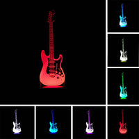 Creative Cartoon 3D Electric Music Guitar Model Illusion Lamp LED 7 Color Changing Gradient Baby Child Sleeping Night Light Gift - LightBalance.co