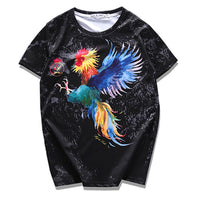 2017 Fashion Colorful Flying Cock Printed Man T-Shirt