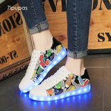 7ipupas New Graffiti Painting LED Sneakers (Unisex) - LightBalance.co