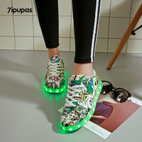 7ipupas Floral LED Glowing Sneakers (Unisex) - LightBalance.co