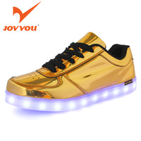 JOYYOU Gold Silver Tennis Led Luminous Shoes For Kids