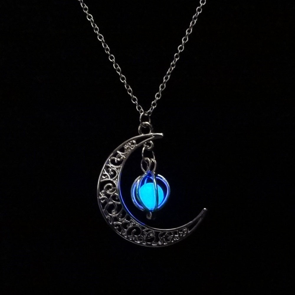 Crescent Moon Necklace with Glow in The Dark Orb