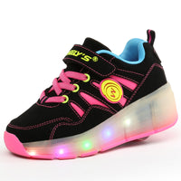 cdbb7dadce ... Four Lines Stripes Wheelies Shoes Boy   Girls With LED Flashing Lamp