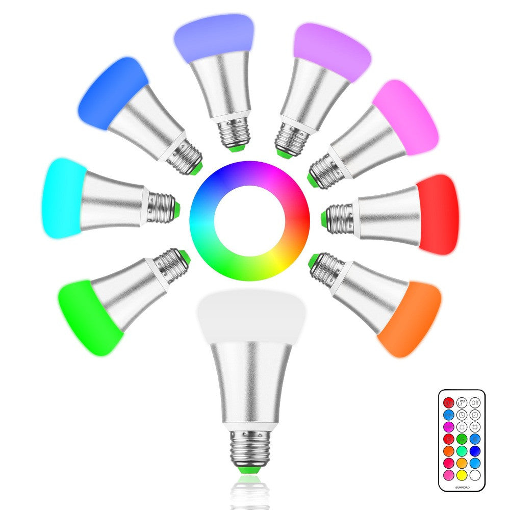 Brightness 10W RGB E27 LED Bulb Light Stage Lamp 12 Colors with Remote Control Led Lights for Home AC 85-265V RGB + Cool White - LightBalance.co