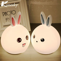 Colorful Rabbit Bunny LED Night Light Rechargeable Animal Silicone Soft Cartoon Sensor Touch Lamp Children Baby Kids Cute Lights - LightBalance.co