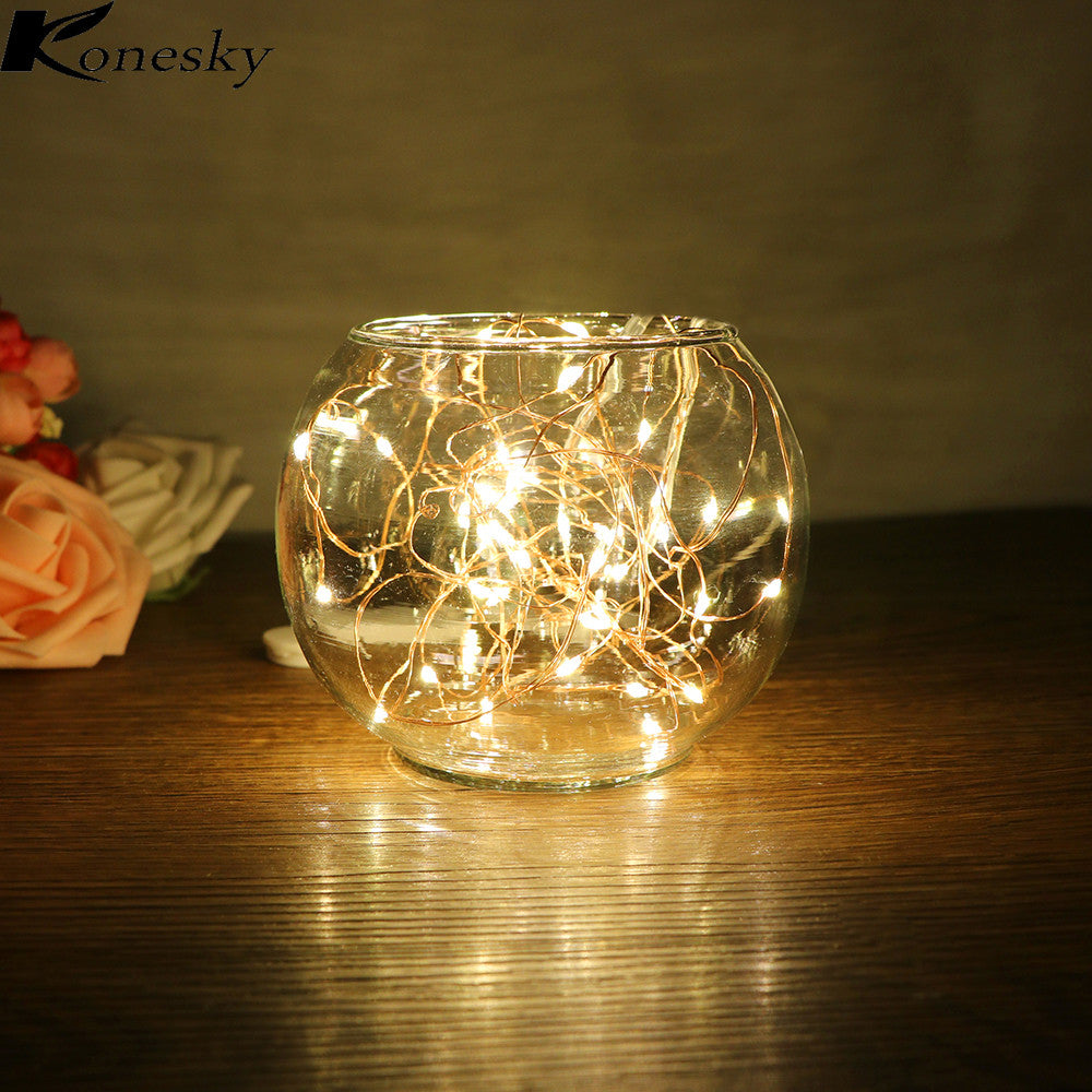Konesky 2M LED Copper Wire Strip Fairy Lights 20 Leds for Festival Christmas Wedding Party Home Decoration Lamp - LightBalance.co