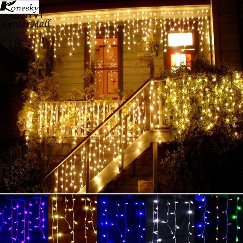 Konesky Christmas Outdoor Decoration Indoor Droop 0.3-0.5m Curtain Icicle Led String Lights New Year Garden Party 110 220V - LightBalance.co