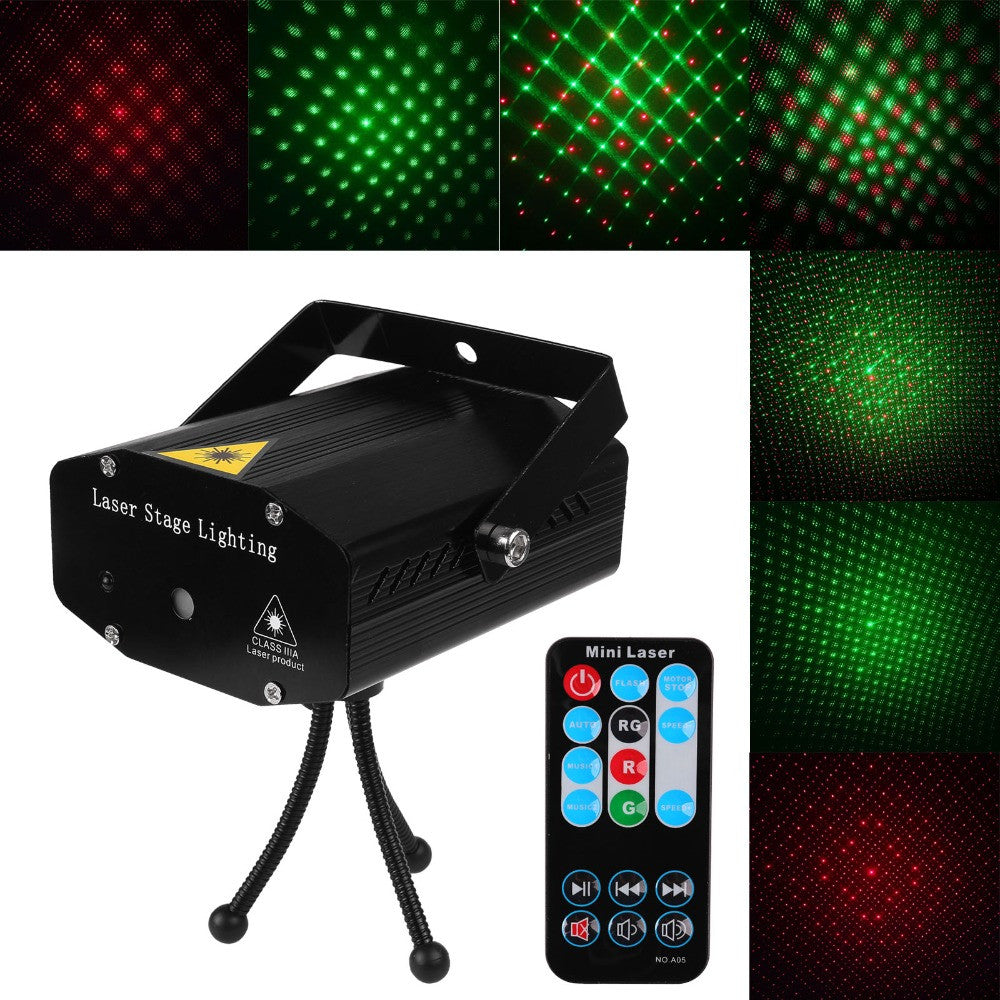 Konesky Portable multi LED bulb Mini Laser Projector DJ Disco Stage Light Xmas Party Lighting Show With Remote Control - LightBalance.co