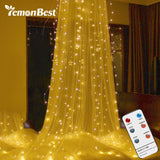 3*3m 300 LEDs Curtain Light RF Remote Control String Light with Diamond Pendant & Hook Outdoor Indoor Party Christmas Xmas Decor - LightBalance.co