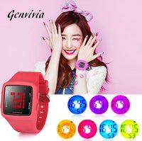 GENVIVIA Fashion Women 5 Bar Waterproof Watch LED Digital Silicone Square Wristwatch