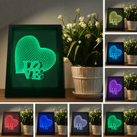 Top Quality 3D Love Heart Photo Frame llusion Remote Touch Switch Night Light 7 Color Changing Mood Lamp Home Decor Family Gifts - LightBalance.co