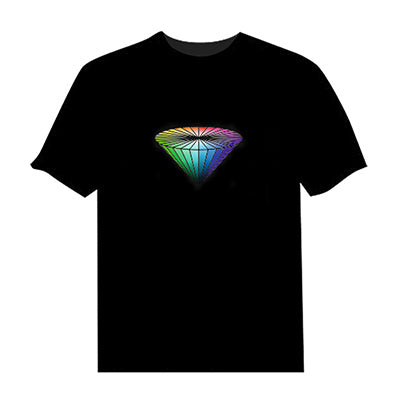 Reverse Cone Black Led Flashing Cotton T-Shirt (Sound Activated) - LightBalance.co