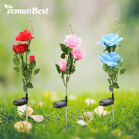 Lemonbest 3 LED Solar Powered Lawn Pink Rose Lights Waterproof IP65 Flower for Home Garden Yard Landscape - LightBalance.co
