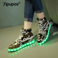 7ipupas High Uppers Camouflage LED Boots (Unisex) - LightBalance.co
