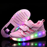 Triangle Patchworks Single or Double Wheels LED Wheelies Shoes