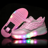 One Wheel Shoes Basket S Pulley Wheels Light Shoes with Wings